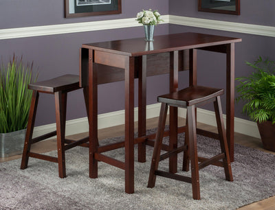 "Lynnwood 3-Pc High Drop Leaf Table with 24"" Saddle Seat Stool - My USA Furniture"