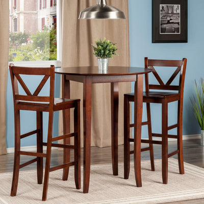 Fiona 3-Pc High Round Table with 2 Bar V-Back Stool - My USA Furniture