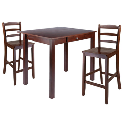 Perrone 3-Pc Dining Set, High Drop Leaf Table & 2 Ladderback Stools - My USA Furniture