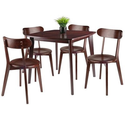 Pauline 5-Pc Set Table with Chairs, Walnut Finish - My USA Furniture