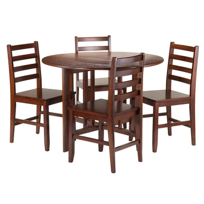 Alamo 5-Pc Round Drop Leaf Table with 4 Hamilton Ladder Back - My USA Furniture
