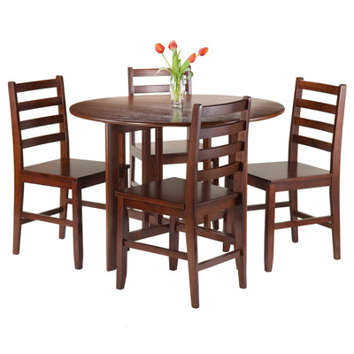 Alamo 5-Pc Round Drop Leaf Table with 4 Hamilton Ladder Back