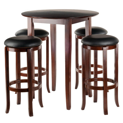 Fiona Round 5Pc High/Pub Table Set with PVC Stools - My USA Furniture