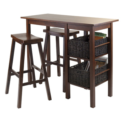 Egan 5Pc Breakfast Table with 2 Baskets and 2 Saddle Seat Stools - My USA Furniture