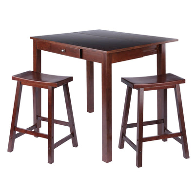 Perrone 3-Pc High Table Set, Drop Leaf Table & 2 Saddle Stools - My USA Furniture