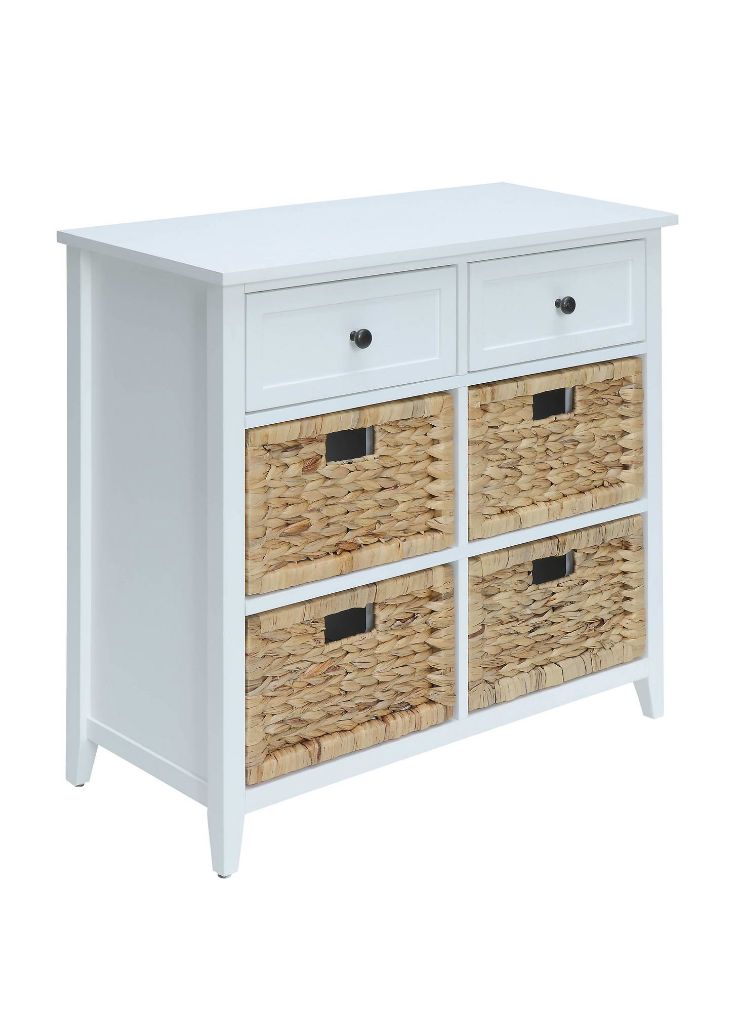 White Console Table Cabinet W/ Drawers & Baskets
