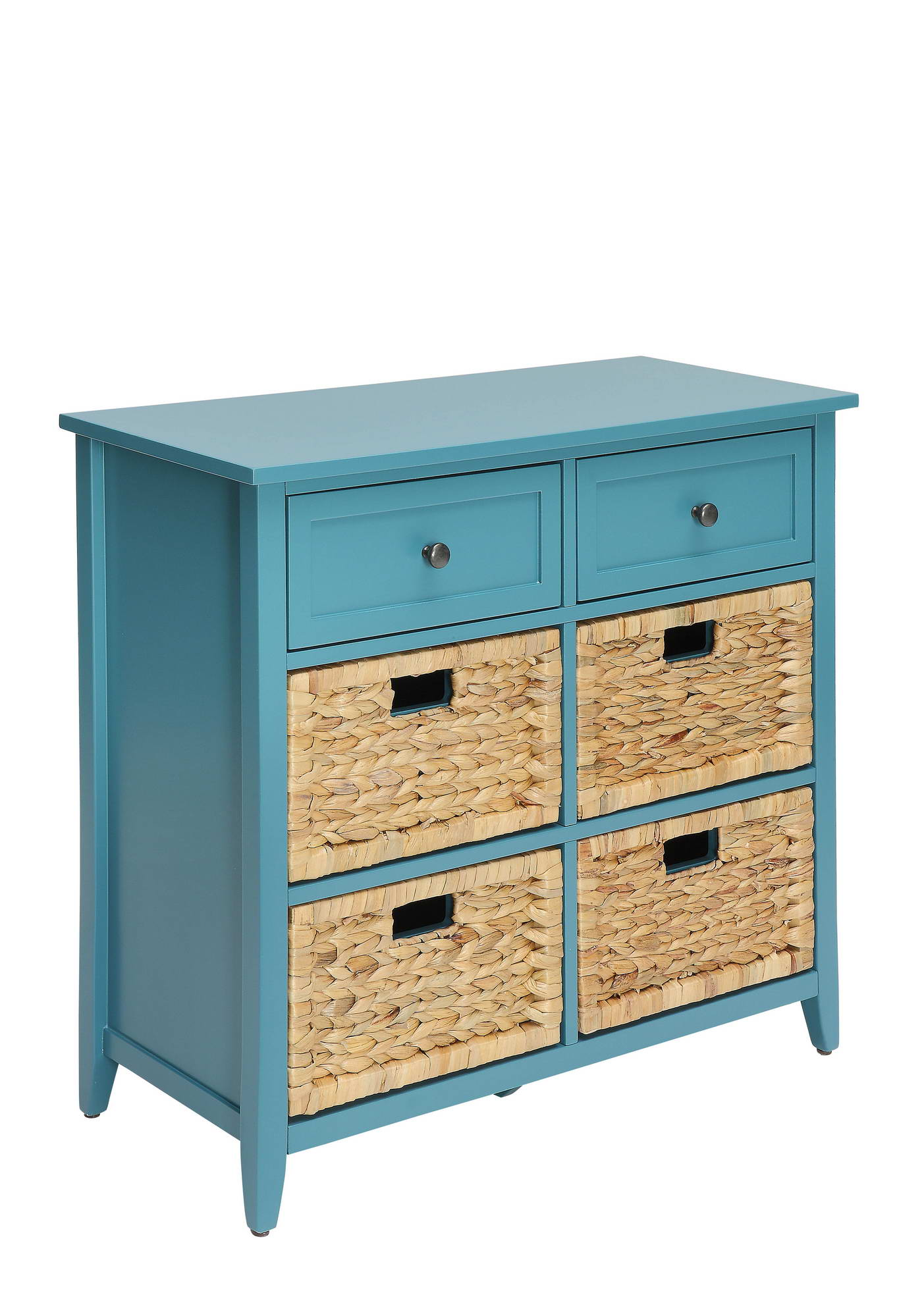 Teal Console Table Cabinet W/ Drawers & Baskets