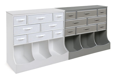 Storage Station with Eight Baskets and Three Bins - White - My USA Furniture