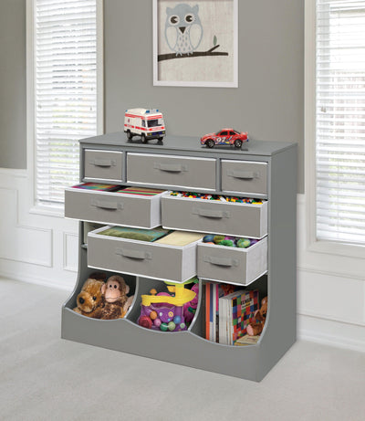 Storage Station with Eight Baskets and Three Bins - Gray - My USA Furniture