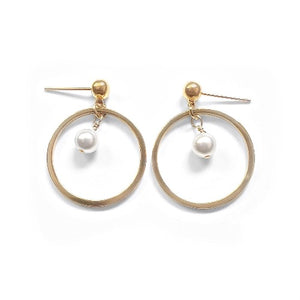 Gold-Plated Studs with Drop Hoops and Swarovski Crystal Pearls