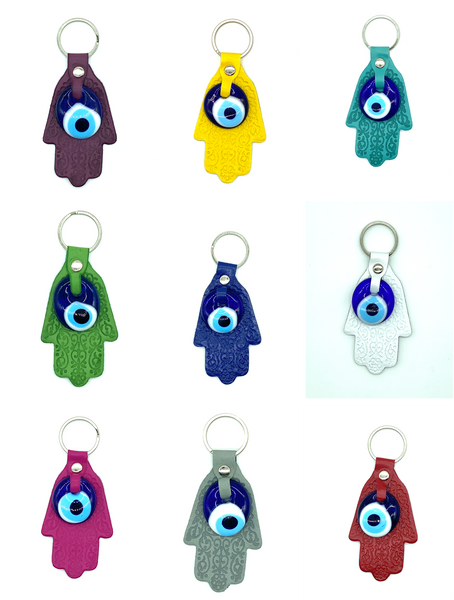 Evil Eye Leather  Hamsa Keychain #1007