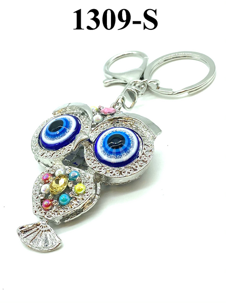 Evil Eye Owl Gold and Silver Key Chain with Dangle Tail #1309