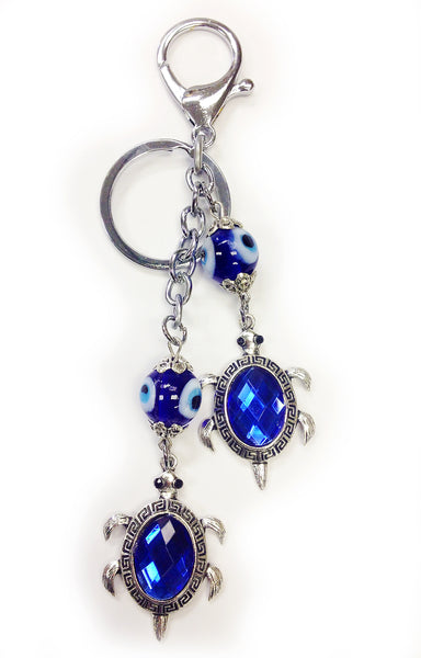 Evil Eye glass with Turtle Key Chain #1326