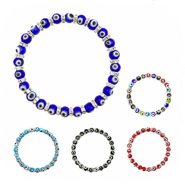 6mm Bead Classic Evil Eye  Bracelet  #2281-2285