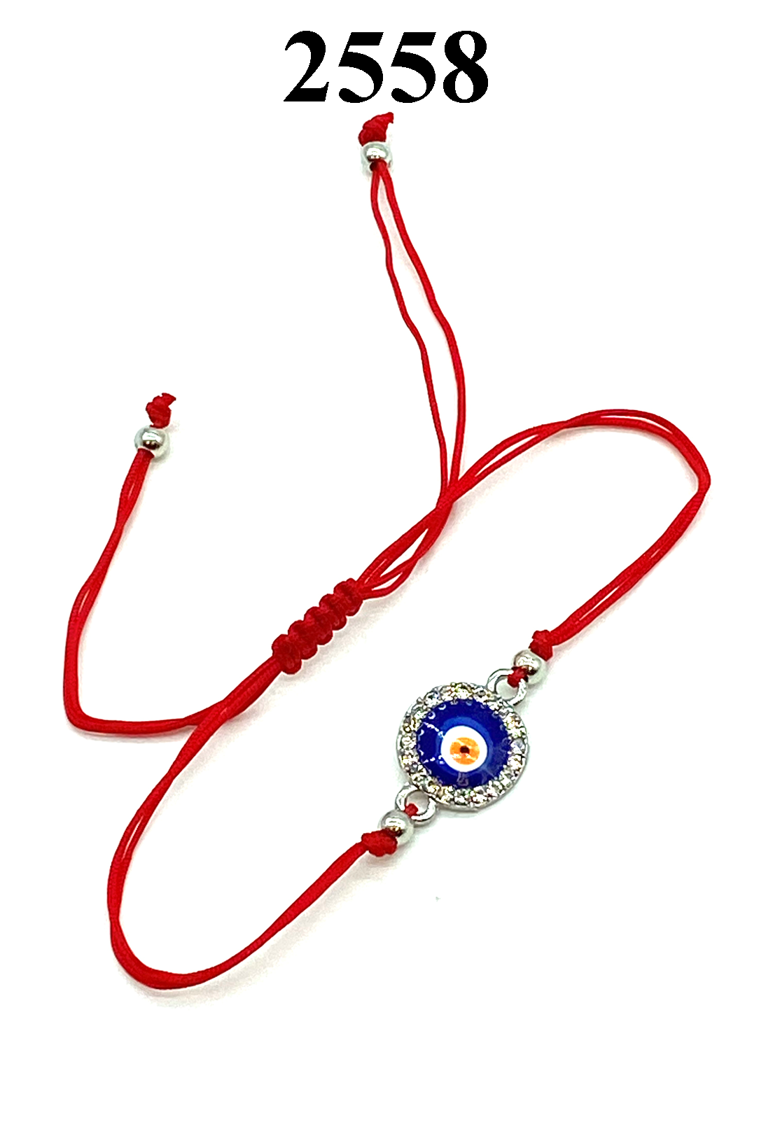 Evil Eye LuckyEye Round Crystal on Red Rope Bracelet #2558