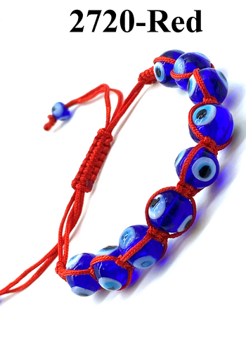 Blue Glass Evil Eye Rope Bracelet #2720