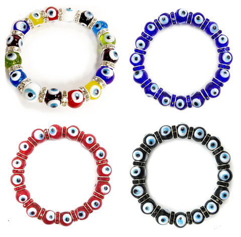 10mm Glass Evil Eye bracelet #2722-2725