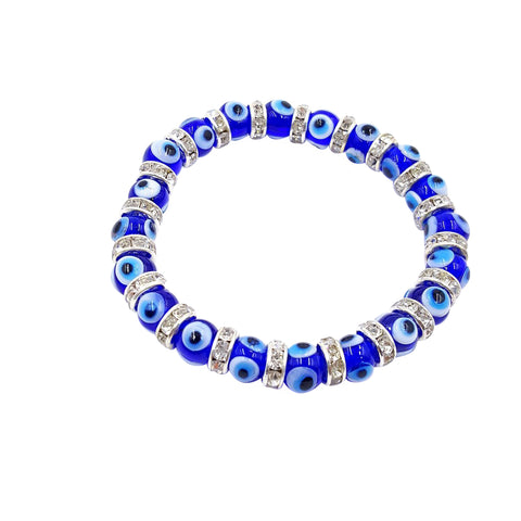 8mm Blue Glass Evil Eye bracelet #2726