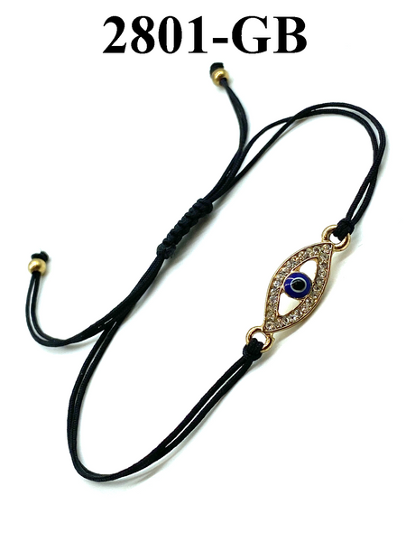 Evil Eye with Crystals and Gold Eye Adjustable LuckyEye Bracelet #2801