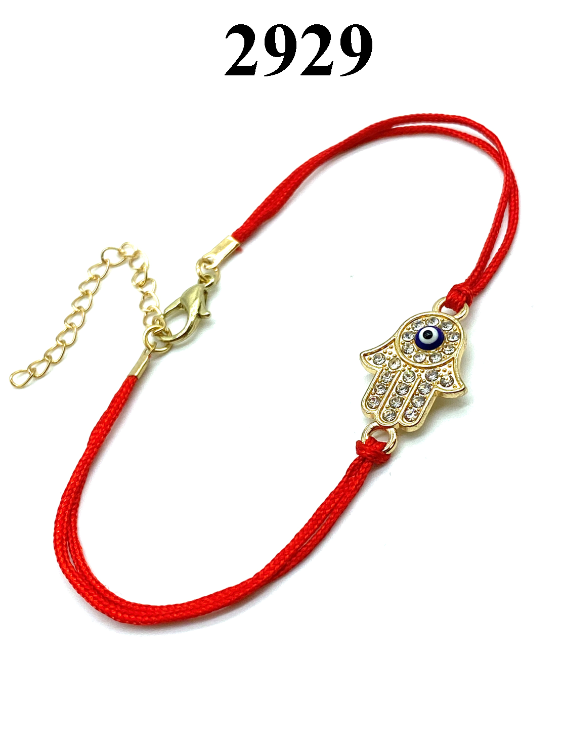 Evil Eye Crystal Hamsa Red Bracelet with Chain #2929