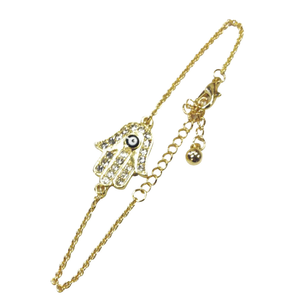 Gold Hamsa Bracelet with Evil Eye Charm #2934