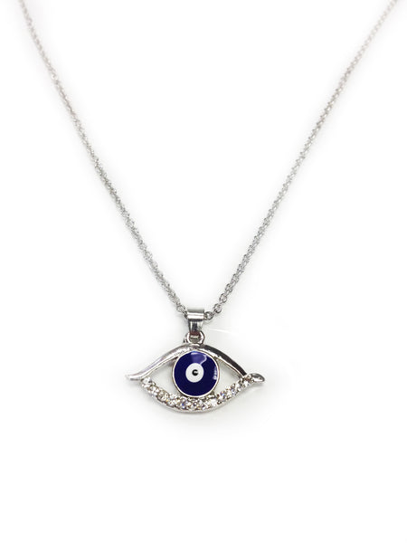 Silver Evil Eye Pendant & Necklace  #3714