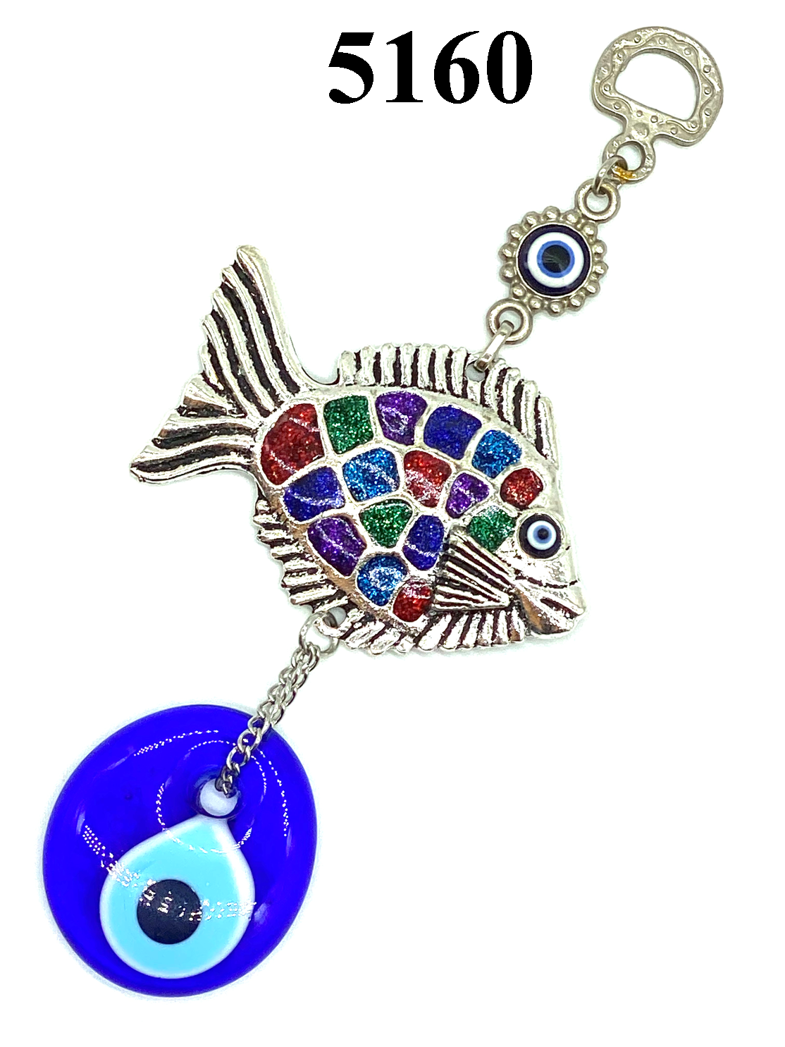 Colorful Fish with Glass Evil Eye Wall Decor #5160