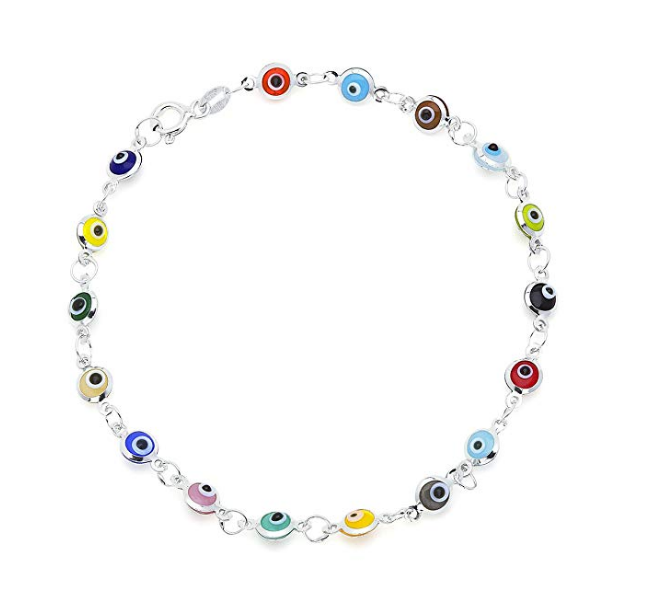 925 Sterling Silver Multi-color Mini  Evil Eye Charm Bracelet #9051