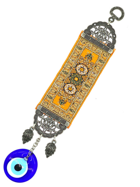 Small Turkish Carpet With Blue Glass Evil Eye Talisman Home Decor #5324