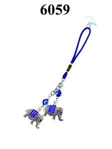 Evil Eye Blue Crystal Elephant Car Hanging Accessory #6059