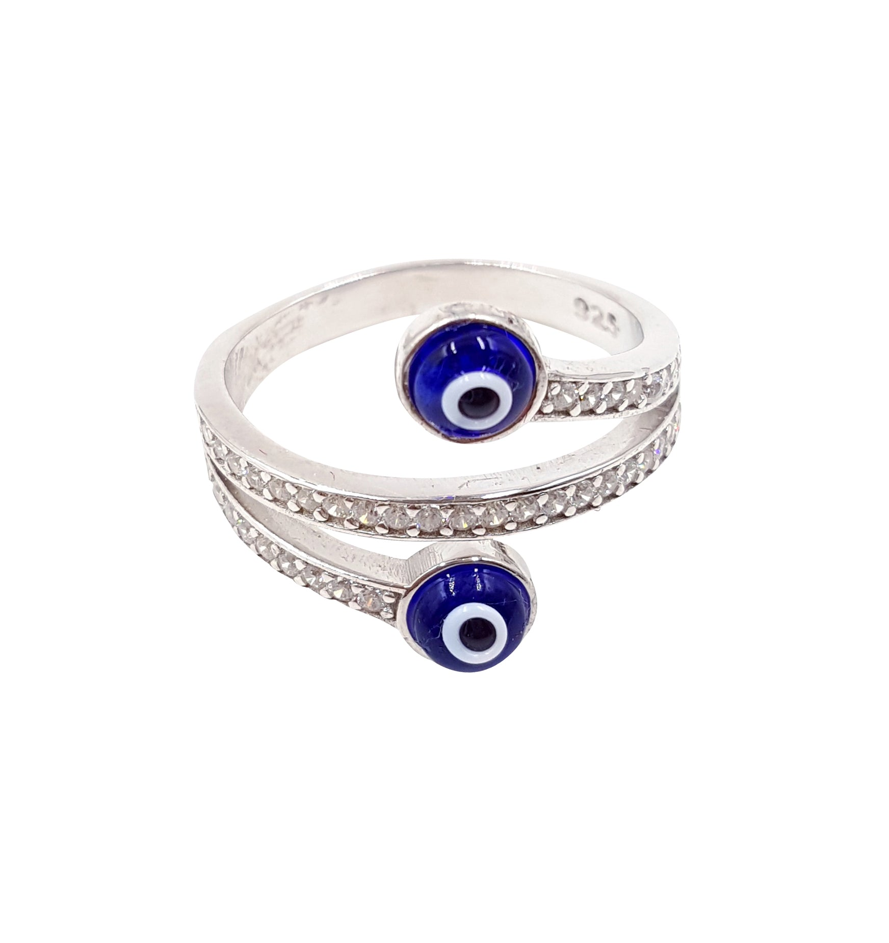 925 Sterling Silver Wrap Around Lucky Eye Ring  #8620
