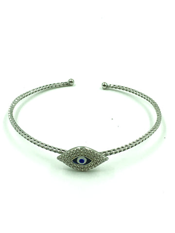 925 Sterling Silver Crystal Lucky Eye Bangle #9356