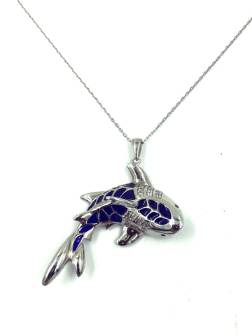 925  Sterling Silver Shark Necklace & Pendant #9678