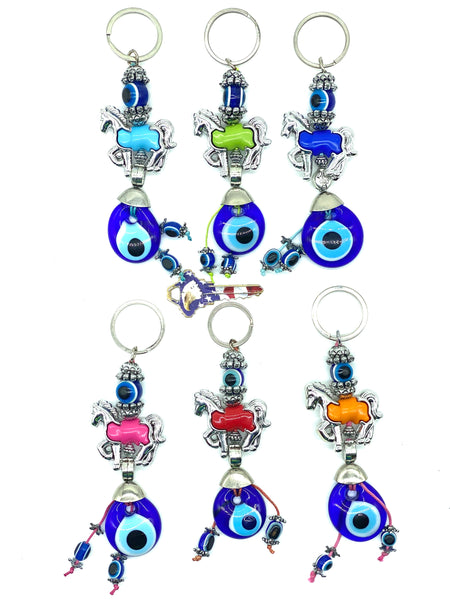 Turkish Evil Eye Horse Keychain #1301