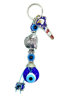 Evil Eye Fish & Glass Eye Keychain #1307