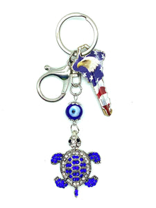 Evil Eye glass with Turtle Key Chain   #1322