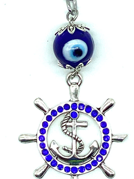Lucky Evil Eye Keychain with Ships Wheel and Anchor Medallion #1327