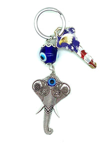 Evil Eye glass eye and elephant head a keychain # 1317
