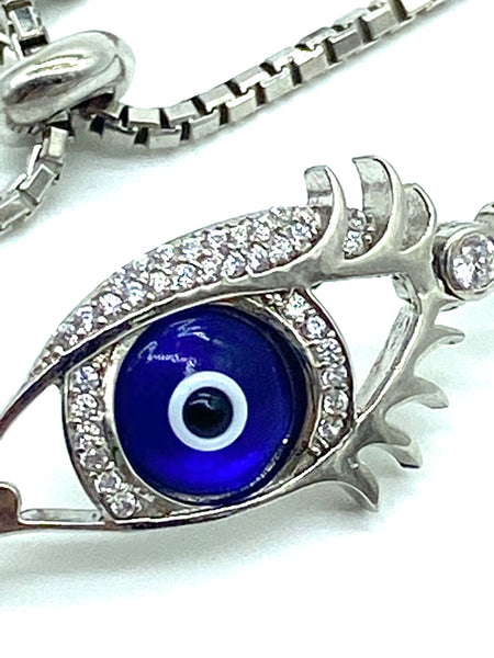 925 Sterling Silver  Eye Shaped  bracelet  #9380
