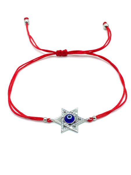 925 Sterling Silver Star Of David Red String Bracelet #90056