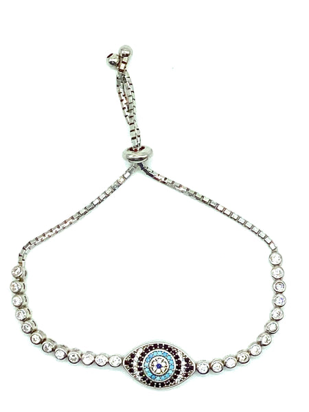 925 Sterling Silver Bracelet Lucky Evil Eye  Jewelry #9402