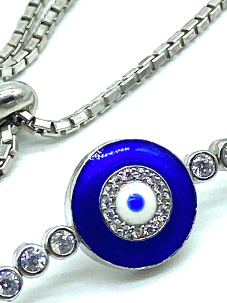 925 Sterling Silver Lucky Evil Eye Bracelet #9395