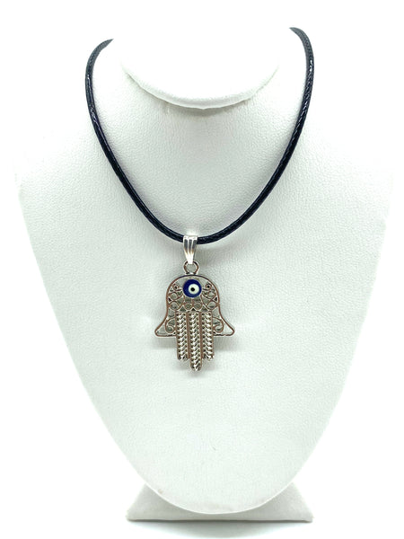 Silver Adjustable Hamsa Evil Eye Necklace #3062