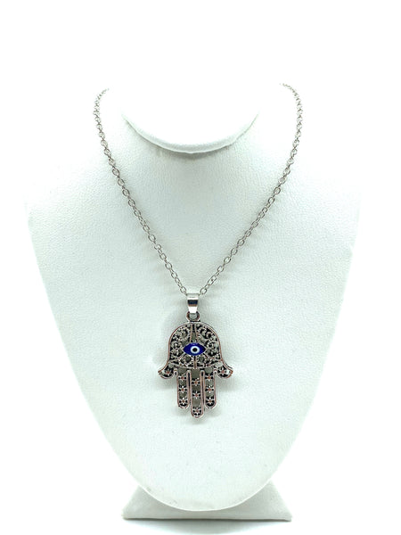 Silver Hamsa Necklace with Evil Eye #3032