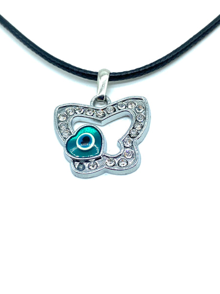 Evil Eye heart on butterfly necklace #3021