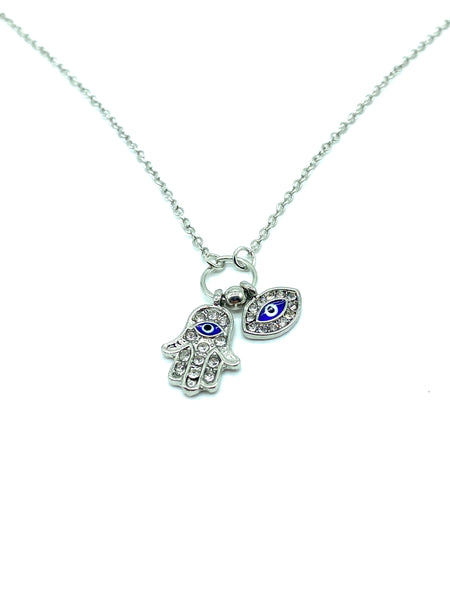 Silver Hamsa Hand & Evil Eye Necklace #3711