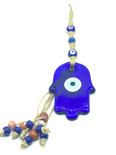 Evil eye hamsa glass wall hanging #5154