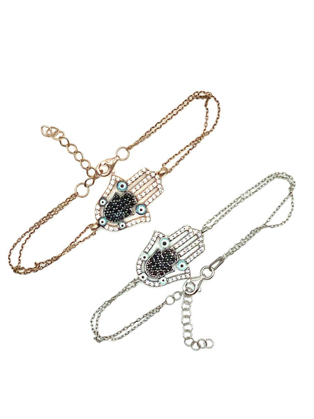 925 Sterling Silver Hamsa  Bracelet with Cubic Zircon Crystals #9062