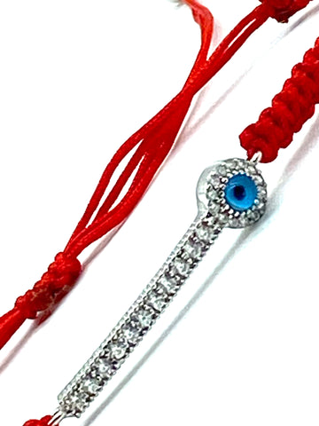 925 Sterling Silver  Red String Bracelet #90061