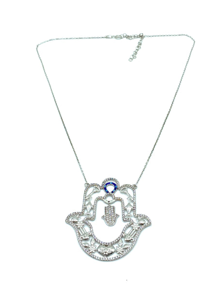 Sterling Silver Hamsa Charm  Necklaces #9681